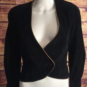 Vintage Vakko Black SuedeV Neck Pouf Sleeve Blazer